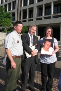 Diane Lillicrap and Rick Power with Acting OSHA Head Jordan Barab. Diane's son and Rick's nephew, Steven Lillicrap, 21, was killed while disassembling a crane on February 3rd.